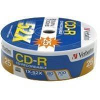 CD-RECORDABLE VERBATIM 80MIN - 700MB EXTRA PROTECTION 52X CAKEBOX 25