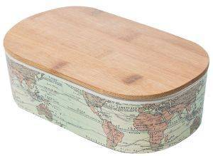 KOYTI ΦΑΓΗΤΟΥ BAMBOO LUNCHBOX  DELUXE-WORLD MAP ΜΠΛΕ 21X12,8X7CM