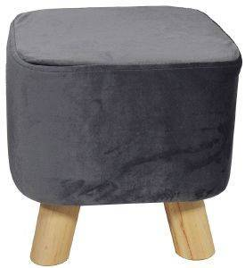 ΣΚΑΜΠΟ PALAMAIKI HOME VELVET FEEL COLLECTION VF805 GREY 28X28X28CM