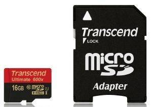 TRANSCEND TS16GUSDHC10U1 16GB MICRO SDHC CLASS 10 UHS-I 600X ULTIMATE WITH ADAPTER