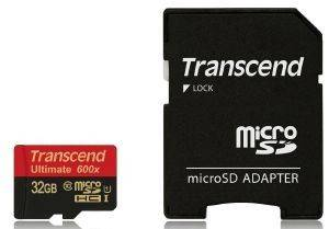 TRANSCEND TS32GUSDHC10U1 32GB MICRO SDHC CLASS 10 UHS-I 600X ULTIMATE WITH ADAPTER