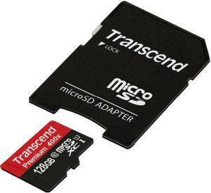 TRANSCEND TS128GUSDU1 128GB MICRO SDXC CLASS 10 UHS-I 400X PREMIUM WITH ADAPTER