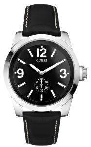 GUESS SMALL SECOND BLACK LEATHER STRAP