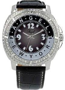 ΓΥΝΑΙΚΕIΟ ΡΟΛOΙ ANGEL ANGEL CRYSTAL BLACK LEATHER STRAP