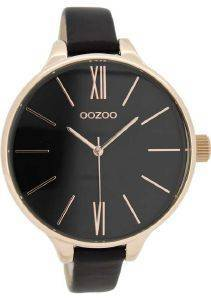 ΓΥΝΑΙΚΕΙΟ ΡΟΛΟΙ OOZOO TIMEPIECES XL ROSE GOLD BLACK LEATHER STRAP C8404