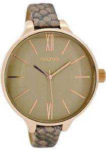ΓΥΝΑΙΚΕΙΟ ΡΟΛΟΙ OOZOO TIMEPIECES XL ROSE GOLD GREY LEATHER STRAP C8402