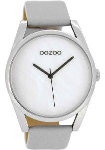 ΓΥΝΑΙΚΕΙΟ ΡΟΛΟΙ OOZOO TIMEPIECES XL GREY LEATHER STRAP C8395