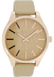 ΓΥΝΑΙΚΕΙΟ ΡΟΛΟΙ OOZOO TIMEPIECES ROSE GOLD BEIGE LEATHER STRAP C8366