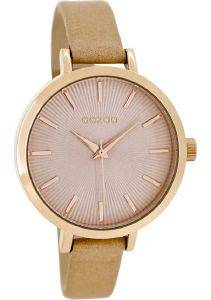 ΓΥΝΑΙΚΕΙΟ ΡΟΛΟΙ OOZOO TIMEPIECES ROSE GOLD BEIGE LEATHER STRAP C8325