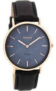 ΓΥΝΑΙΚΕΙΟ ΡΟΛΟΙ OOZOO TIMEPIECES VINTAGE ROSE GOLD BLACK LEATHER STRAP C8124
