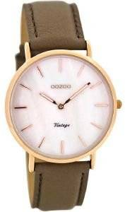 ΓΥΝΑΙΚΕΙΟ ΡΟΛΟΙ OOZOO TIMEPIECES VINTAGE ROSE GOLD BROWN LEATHER STRAP C8123