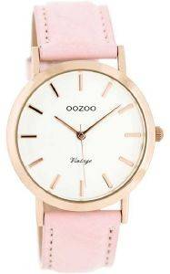 ΓΥΝΑΙΚΕΙΟ ΡΟΛΟΙ OOZOO TIMEPIECES VINTAGE ROSE GOLD PINK LEATHER STRAP C8103
