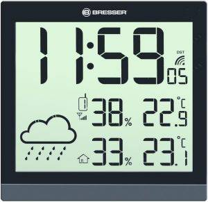 BRESSER TEMEOTREND JC BLACK LCD WEATHER WALL CLOCK BLACK 7004404