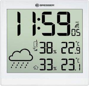 BRESSER TEMEOTREND JC WHITE LCD WEATHER WALL CLOCK WHITE 7005404