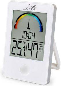 LIFE WES-101 DIGITAL INDOOR THERMOMETER AND HYGROMETER WITH CLOCK WHITE