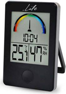 LIFE WES-100 DIGITAL INDOOR THERMOMETER AND HYGROMETER WITH CLOCK BLACK