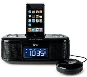 ILUV IMM153 IPOD ALARM CLOCK WITH BED SHAKER BLACK