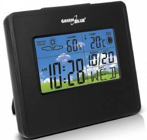 GREENBLUE GB148B WEATHER STATION CLOCK MOON CALENDAR BLACK