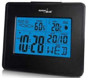 GREENBLUE GB144 WEATHER STATION CLOCK MOON CALENDAR BLACK