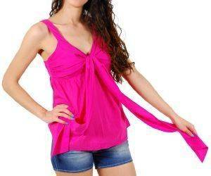 TOP DKNY COTTON VOILE ΦΟΥΞΙΑ (L)