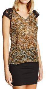 T-SHIRT RED SOUL FABRICIA LEOPARD ΚΑΦΕ/ΜΑΥΡΟ