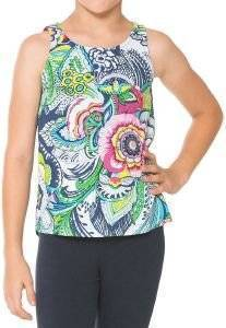 T-SHIRT DESIGUAL COLORADO FLORAL ΜΠΛΕ/ΡΟΖ