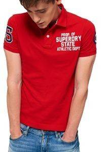 T-SHIRT POLO SUPERDRY CLASSIC SUPERSTATE ΚΟΚΚΙΝΟ
