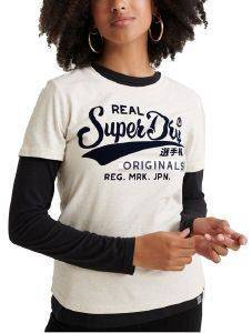T-SHIRT SUPERDRY REAL ORIGINALS FLOCK METALLIC W1000020A ΕΚΡΟΥ ΜΕΛΑΝΖΕ