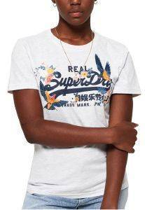T-SHIRT SUPERDRY VINTAGE LOGO PUFF W1000047A ΛΕΥΚΟ ΜΕΛΑΝΖΕ (S)