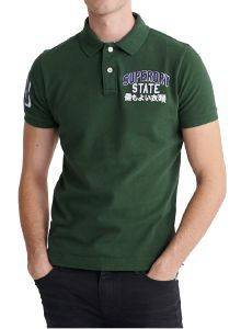 T-SHIRT POLO SUPERDRY CLASSIC SUPERSTATE M1110008A ΣΚΟΥΡΟ ΠΡΑΣΙΝΟ