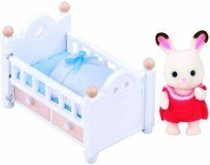 SYLVANIAN FAMILIES CHOCOLATE RABBIT BABY SET (BABY BED) [5017]