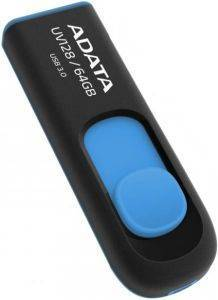 ADATA DASHDRIVE UV128 64GB USB3.0 FLASH DRIVE BLACK/BLUE