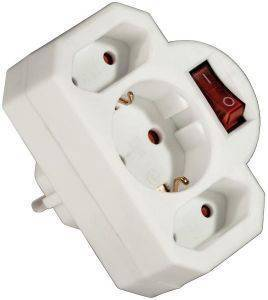 HAMA 108846 3-WAY SOCKET ADAPTER ΜΕ ΔΙΑΚΟΠΤΗ WHITE