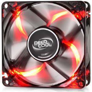 DEEPCOOL WINDBLADE 80R SEMI-TRANSPARENT BLACK FAN 80MM WITH RED LED