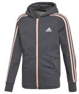 ΖΑΚΕΤΑ ADIDAS PERFORMANCE YG 3S FZ HOODED TRACK TOP ΓΚΡΙ