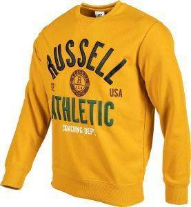 ΜΠΛΟΥΖΑ RUSSELL ATHLETIC BADGED CREWNECK SWEATSHIRT ΜΟΥΣΤΑΡΔΙ