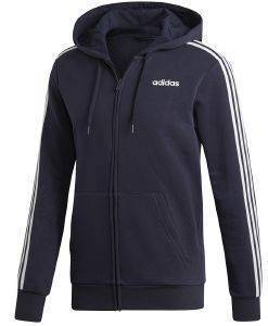 ΖΑΚΕΤΑ ADIDAS SPORT INSPIRED ESSENTIALS 3-STRIPES FLEECE HOODIE ΜΠΛΕ ΣΚΟΥΡΟ