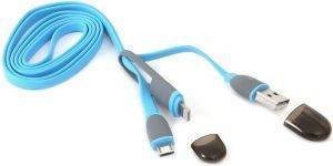 PLATINET 42871 USB UNIVERSAL CABLE 2 IN 1 MICRO USB/LIGHTNING BLUE