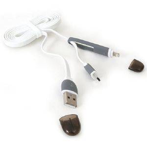 PLATINET 42874 USB UNIVERSAL CABLE 2 IN 1 MICRO USB/LIGHTNING WHITE