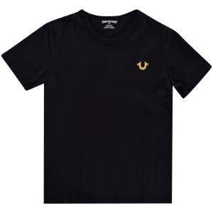 T-SHIRT TRUE RELIGION GOLD BRANDED LOGO TR146TE179 ΜΑΥΡΟ