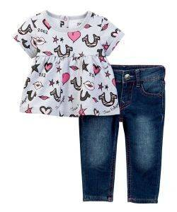 ΣΕΤ T-SHIRT/JEAN TRUE RELIGION LIPS AND STARS TR246ST32 ΓΚΡΙ ΜΕΛΑΝΖΕ/ΜΠΛΕ
