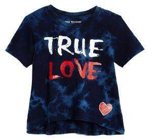 T-SHIRT TRUE RELIGION TRUE LOVE DRAPE TR617SK06 ΜΠΛΕ